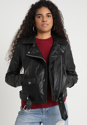 OBJNANDITA - Leather jacket - black
