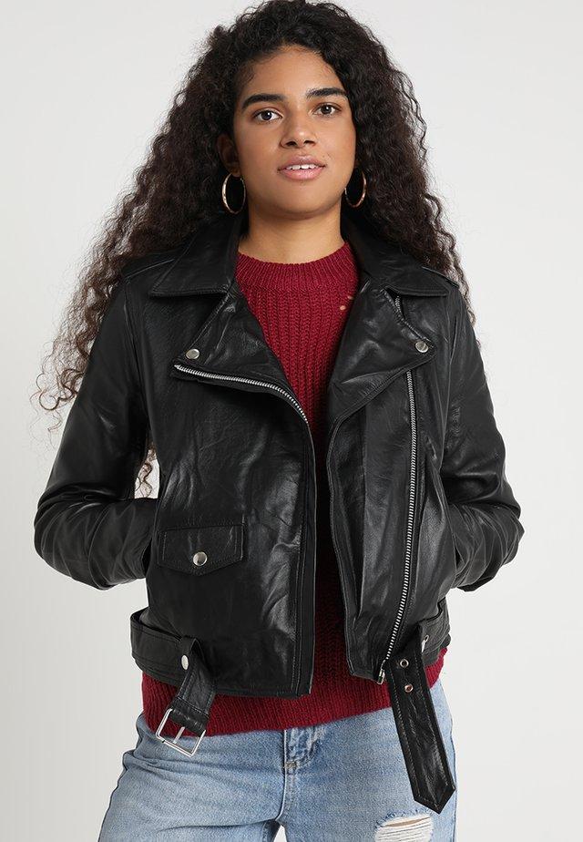OBJNANDITA - Veste en cuir - black