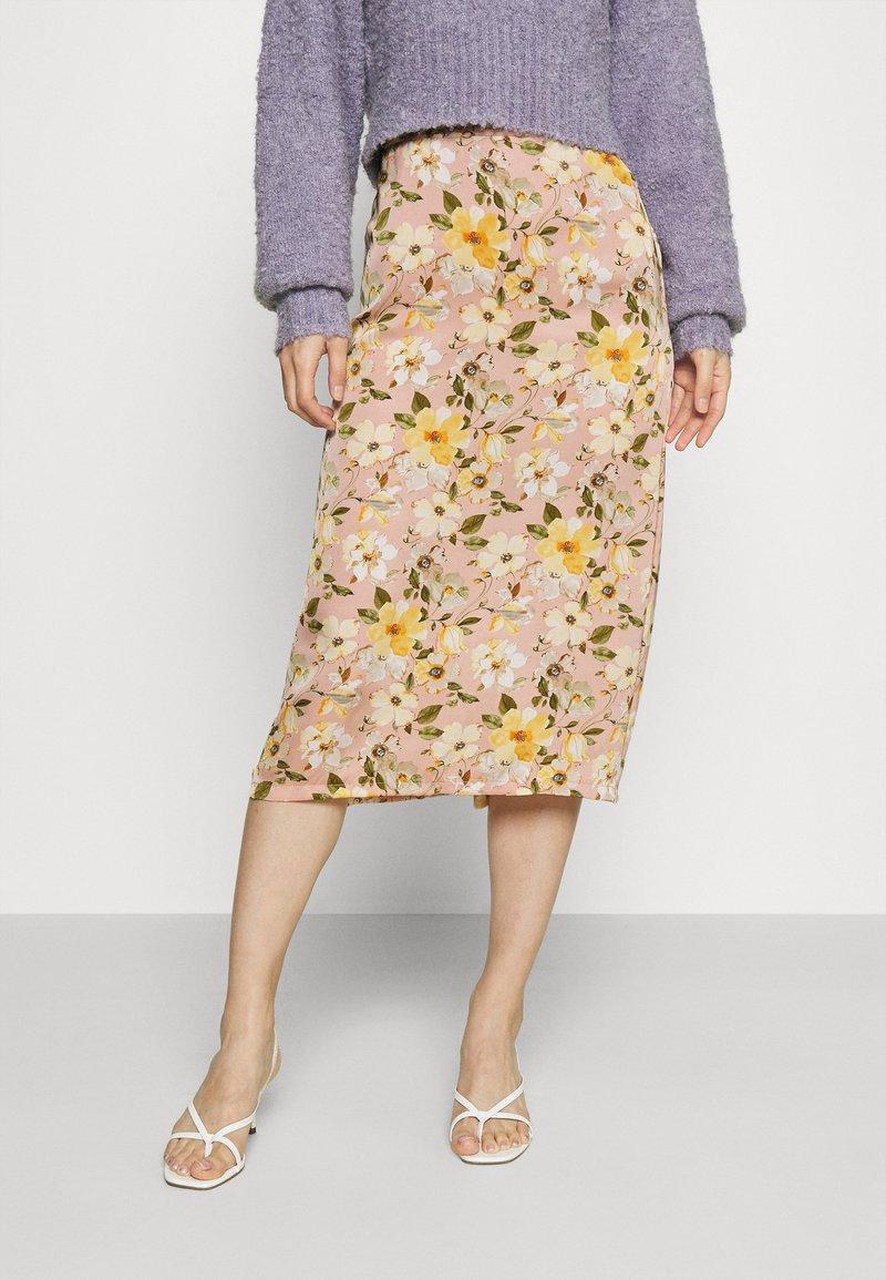 Vila - VIFLOWERY MIDI SKIRT - Pencil skirt - misty rose