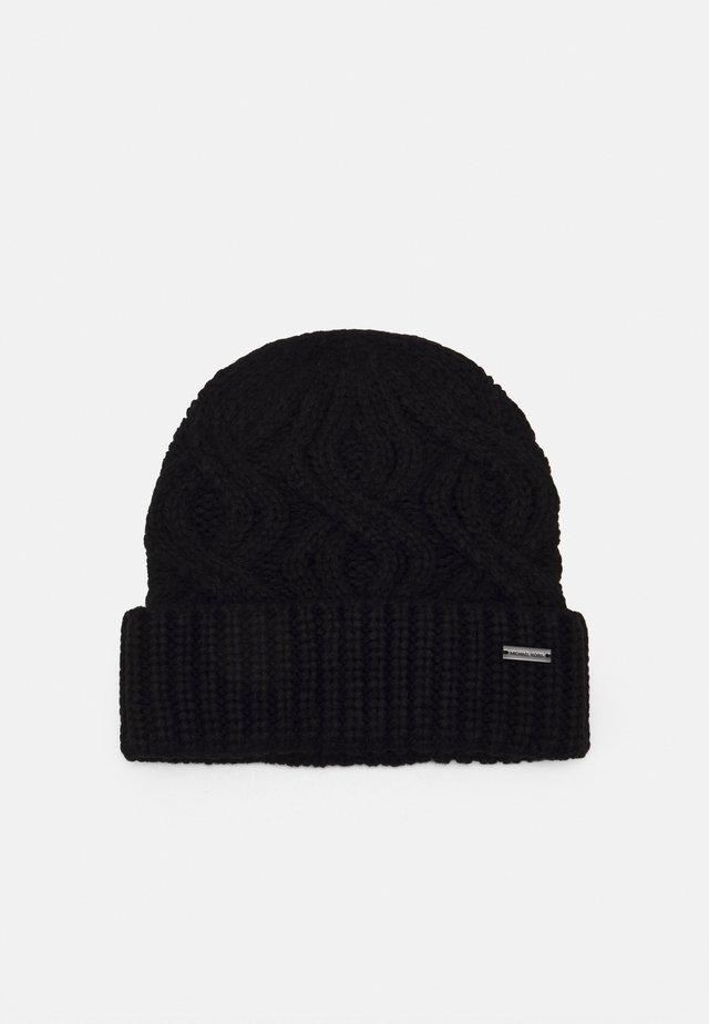 SHAKER CABLE CUFF HAT UNISEX - Bonnet - black