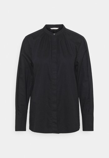 BLOUSE LONG SLEEVE STAND UP COLLAR - Blouse - black