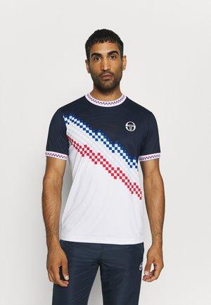 CHECK - Print T-shirt - navy/white