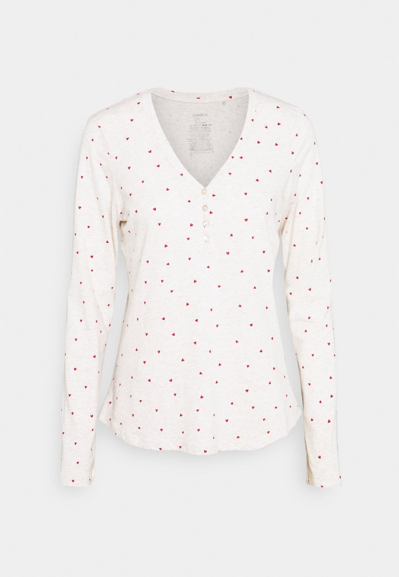 Lindex - NIGHT TOP X MAS JENNIE - Pyjama top - light beige melange