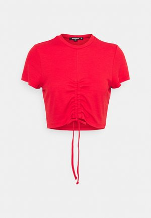 RUCHED SEAM SHORT SLEEVE - T-shirts med print - red