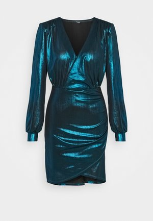 ONLCOCKTAIL SHINE WRAP DRESS  - Cocktailkjoler / festkjoler - black/bristol blue