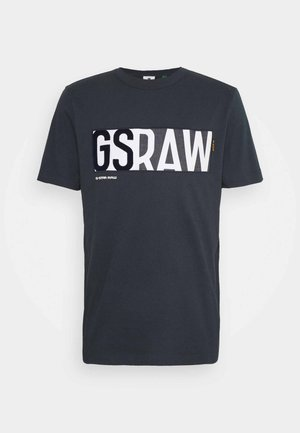 GS RAW DENIM LOGO + ROUND SHORT SLEEVE - T-shirt print - legion blue