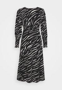 New Look Petite - SHIRRED DETAIL ZEBRA MIDI DRESS - Day dress - black - 5