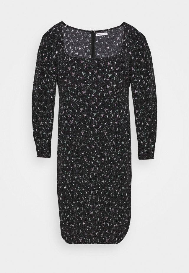 SQUARE NECK DITSY PRINT DRESS - Korte jurk - black
