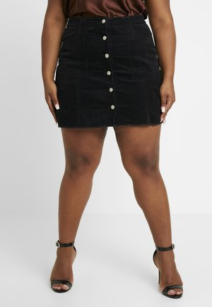 BUTTON FRONT SKIRT - Mini skirt - black