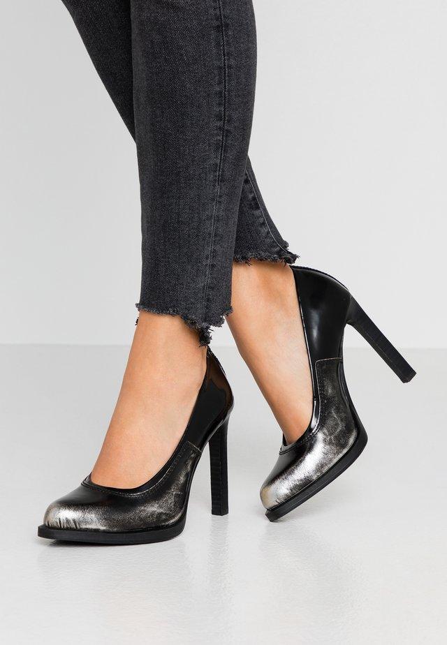 STRETT - Escarpins à talons hauts - dark silver/dark black