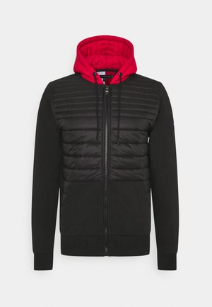 MIXED MEDIA ZIP HOODY - Chaqueta de entretiempo - black