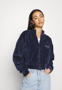 Missguided - ZIP FRONT CROP JACKET - Zip-up hoodie - navy - 0