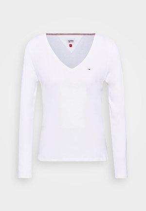 V NECK LONGSLEEVE - Long sleeved top - white