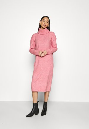 VMCARINA LONG COWLNECK DRESS - Strikket kjole - tea rose/white melange