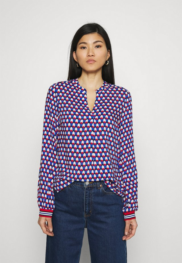 Blouse - azur/red