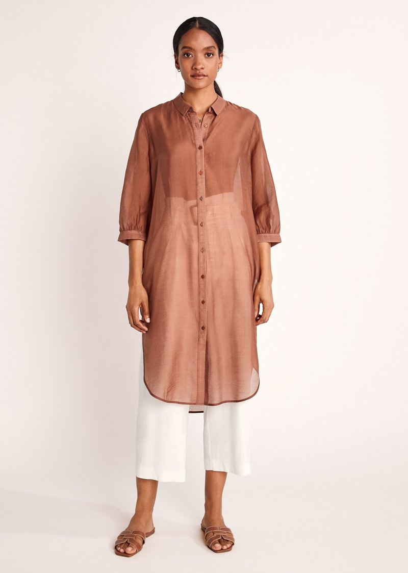 comma - Button-down blouse - burnt sienna