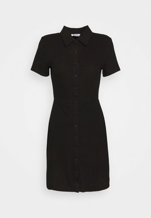COLLARED DRESS WITH BUTTON DETAIL - Kjole - black