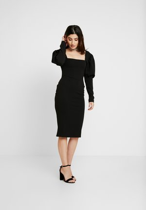 SQUARE NECK PUFF SLEEVE MIDI DRESS - Etui-jurk - black
