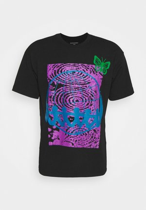 NO SIDES ON A ROUND PLANET - Print T-shirt - black