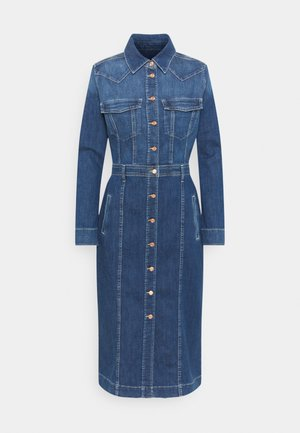 LUXE DRESS WEST - Denim dress - mid blue