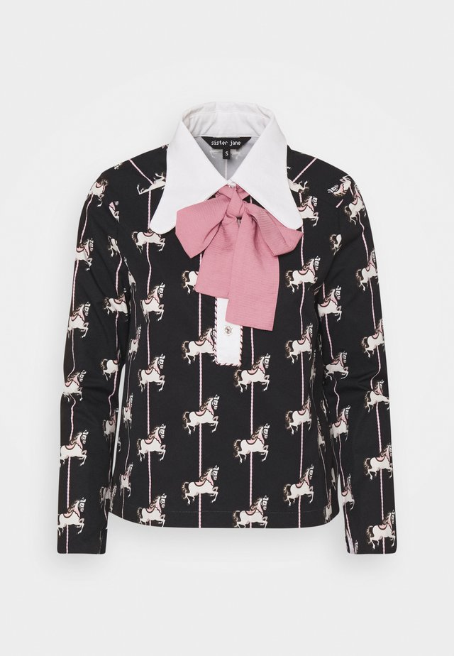 CAROUSEL RETRO COLLAR BLOUSE - Blouse - black