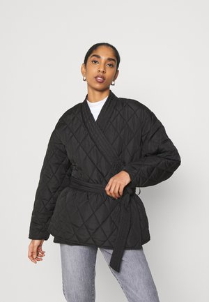 QUILTED KIMONO JACKET - Light jacket - black