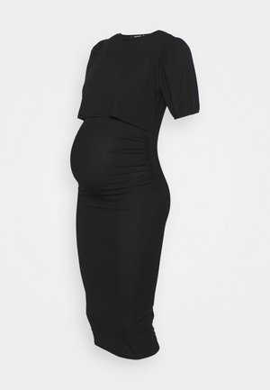 PUFF SLEEVE NURSING DRESS - Žerzejové šaty - black