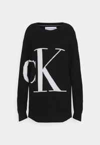 Calvin Klein Jeans - SLICED OVERSIZED SWEATER - Jumper - black - 0