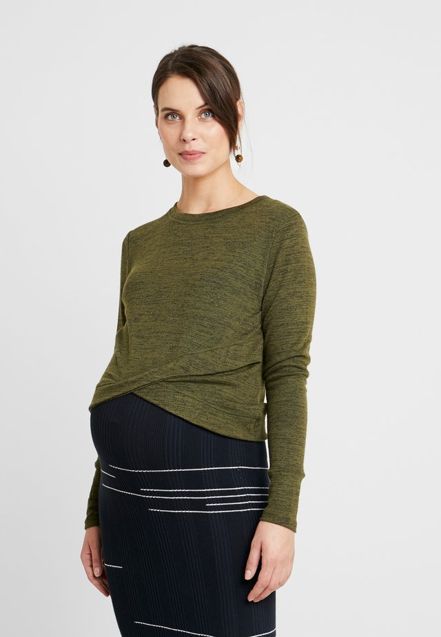 MATERNITY CROSS OVER FRONT LONG SLEEVE - Strickpullover - olive night
