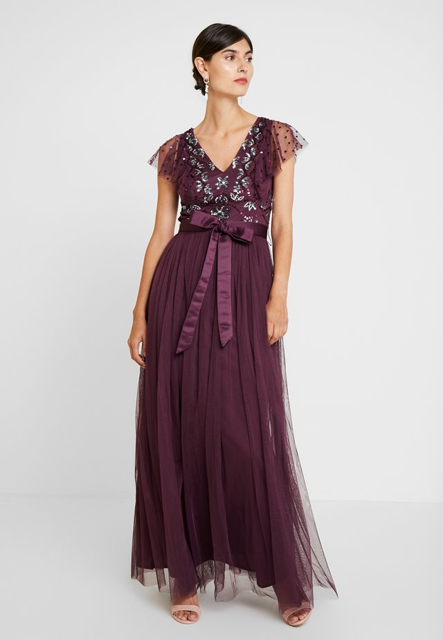 RUFFLE SLEEVE EMBELLISHEDBODICE DRESS WITH SASH TIE BELT - Gallakjole - plum