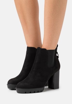 WIDE FIT BING RING CHELSEA CHUNKY - Bottines à talons hauts - black