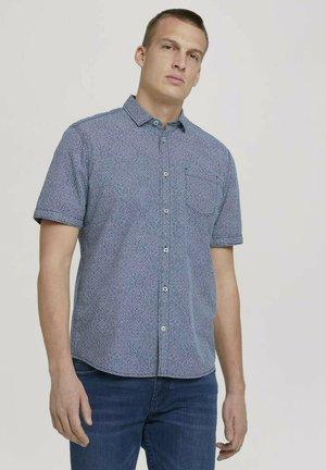 Shirt - navy white grid design