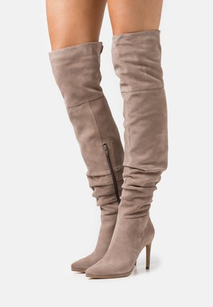 LEATHER - High Heel Stiefel - beige