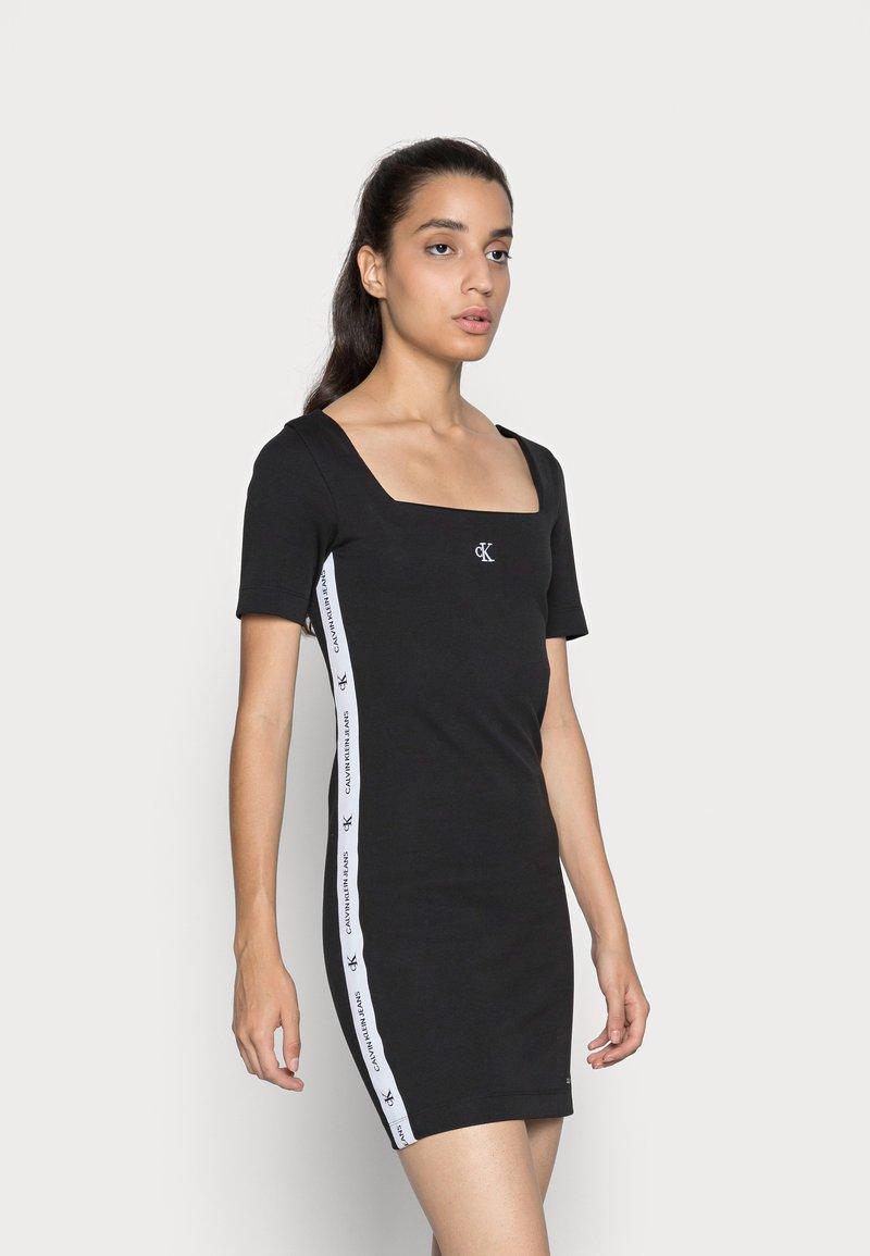 Calvin Klein Jeans - SQUARE NECK DRESS - Jersey dress -  black