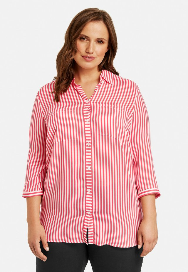 Button-down blouse - coral gemustert