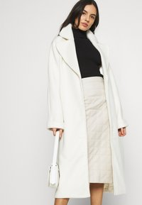 River Island - QUILTED MIDI - A-line skirt - stone - 3