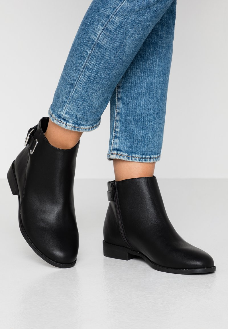 Miss Selfridge Wide Fit - BUCKLE DETAIL FLAT BOOT WIDE FIT - Ankle boots - black