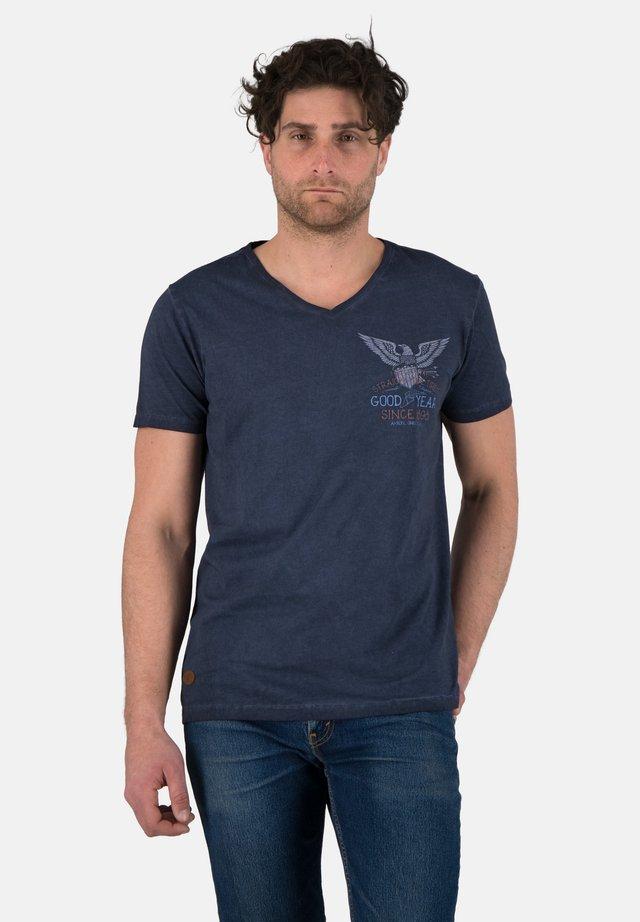 SHELBY - Print T-shirt - marl navy