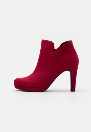 High heeled ankle boots - lipstick