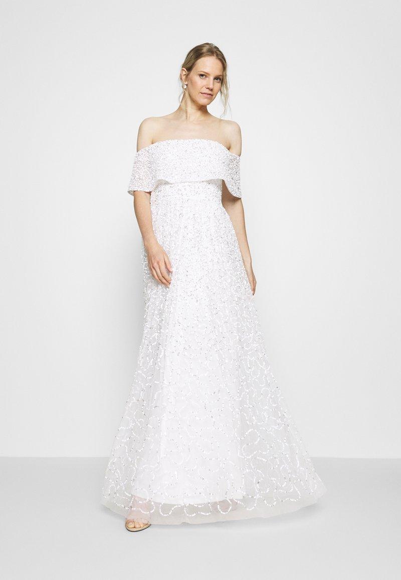 Maya Deluxe - SCATTERED SEQUIN BARDOT MAXI DRESS - Společenské šaty - white