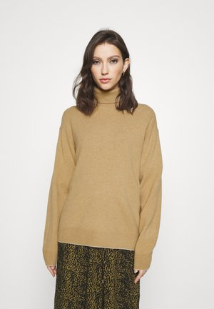 TNECK PIPING DETAILS - Pullover - beige