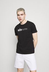 Alpha Industries - ALPHA LABEL 2 PACK - T-shirt con stampa - black - 1
