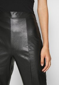 Even&Odd - HIGH WAISTED PU STRAIGHT LEG TROUSERS - Trousers - black - 6
