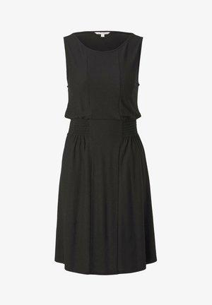 KLEIDER & JUMPSUITS JERSEY-MINIKLEID MIT SMOCKING-DETAIL - Vestito estivo - deep black