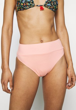 HI CUT CHEEKY WAFFLE - Bikini bottoms - beach peach