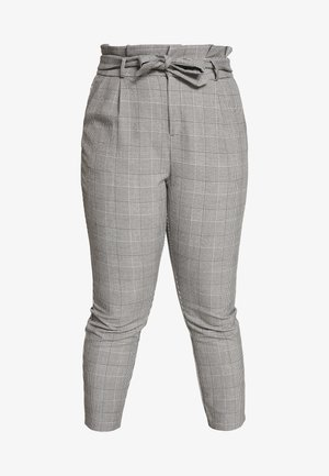 VMEVA LOOSE PAPERBAG CHECK - Trousers - grey