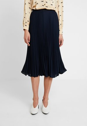 PLEATED SOLID MIDI SKIRT - A-Linien-Rock - navy