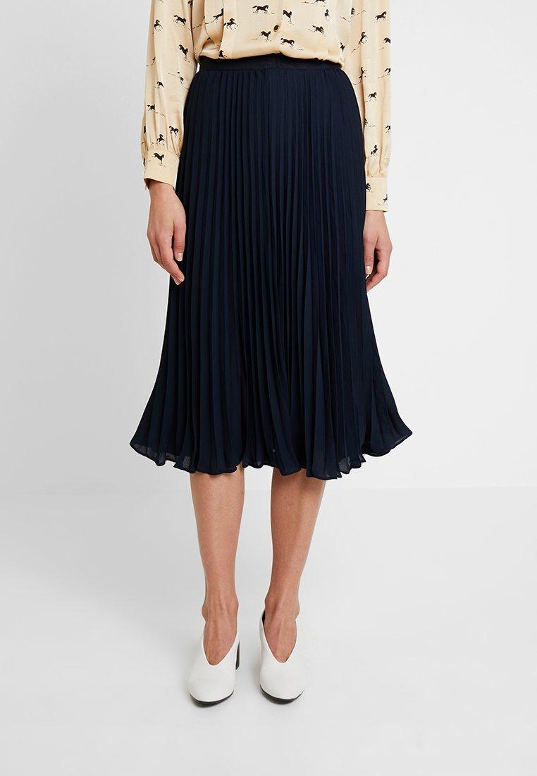 Banana Republic - PLEATED SOLID MIDI SKIRT - A-line skirt - navy