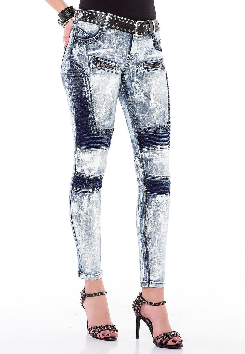 Cipo & Baxx - MIT BIKER-ELEMENTEN - Jeans Skinny Fit - blau