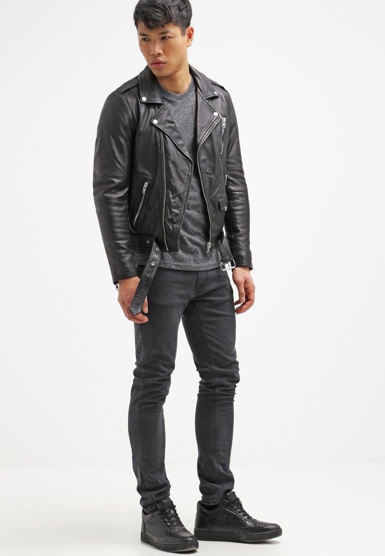 Men ROCKER  - Leather jacket - black